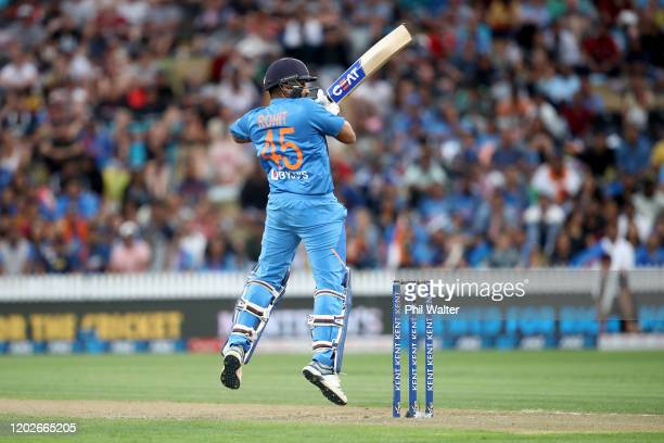 Rohit Sharma of India bats during game three of the Twenty20 series between New Zealand and India at Seddon Park on January 29, 2020 in Hamilton, New...
