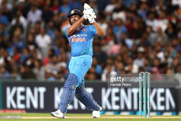 Rohit Sharma of India bats during game two of the International T20 Series between the New Zealand Black Caps and India at Eden Park on February 08...