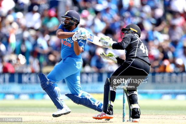 Rohit Sharma of India bats during game two of the One Day International Series between New Zealand and India at Bay Oval on January 26 2019 in Mount...