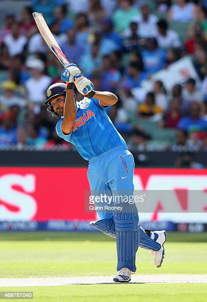Rohit Sharma of India bats during the 2015 ICC Cricket World Cup Quater Final match between India and Bangldesh at Melbourne Cricket Ground on March...