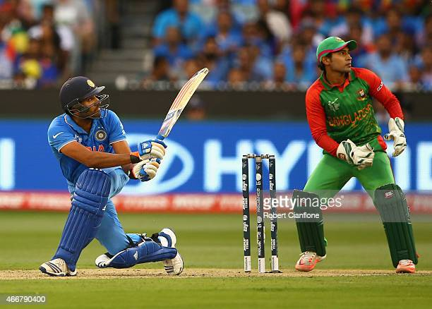 Rohit Sharma of India bats during the 2015 ICC Cricket World Cup match between India and Bangldesh at Melbourne Cricket Ground on March 19, 2015 in...