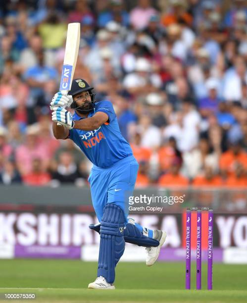 Rohit Sharma of India bats during the 3rd Royal London OneDay International match between England and India at Headingley on July 17 2018 in Leeds...