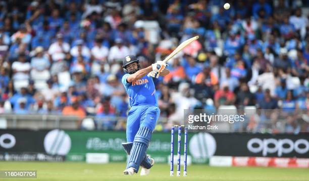 Rohit Sharma of India bats during the Group Stage match of the ICC Cricket World Cup 2019 between Sri Lanka and India at Headingley on July 06, 2019...