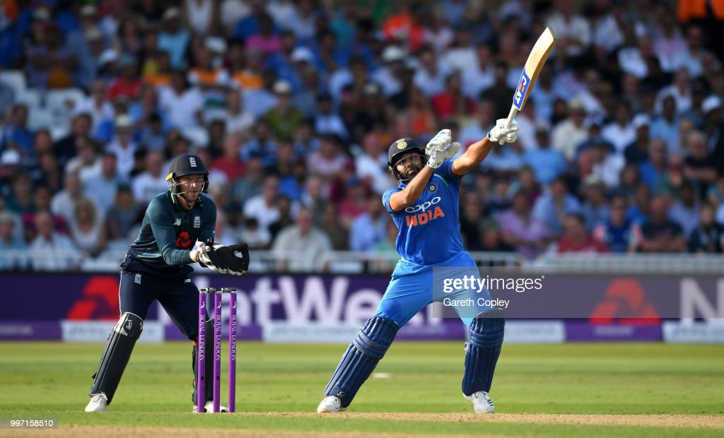 Rohit Sharma of India bats during the Royal London One-Day match between England and India at Trent Bridge on July 12, 2018 in Nottingham, England.