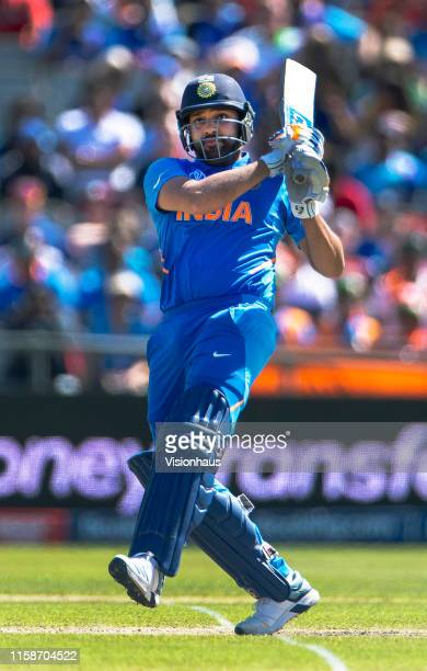 Rohit Sharma of India batting during the Group Stage match of the ICC Cricket World Cup 2019 between India and New Zealand at Old Trafford on June...
