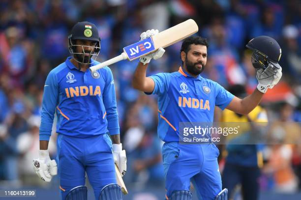 Rohit Sharma of India celebrates after scoring his century with KL Rahul of India during the Group Stage match of the ICC Cricket World Cup 2019...