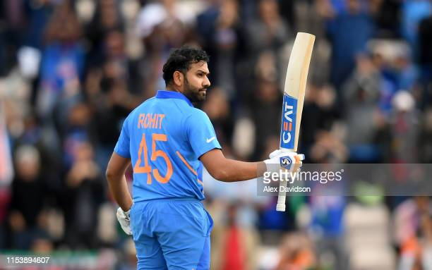 Rohit Sharma of India celebrates his century during the Group Stage match of the ICC Cricket World Cup 2019 between South Africa and India at The...
