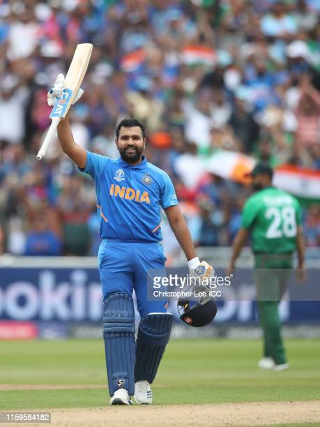 Rohit Sharma of India celebrates his century during the Group Stage match of the ICC Cricket World Cup 2019 between Bangladesh and India at Edgbaston...