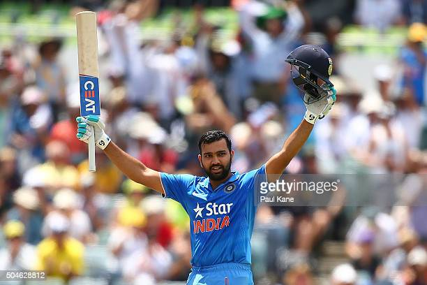 Rohit Sharma of India celebrates his century during the Victoria Bitter One Day International Series match between Australia and India at WACA on...