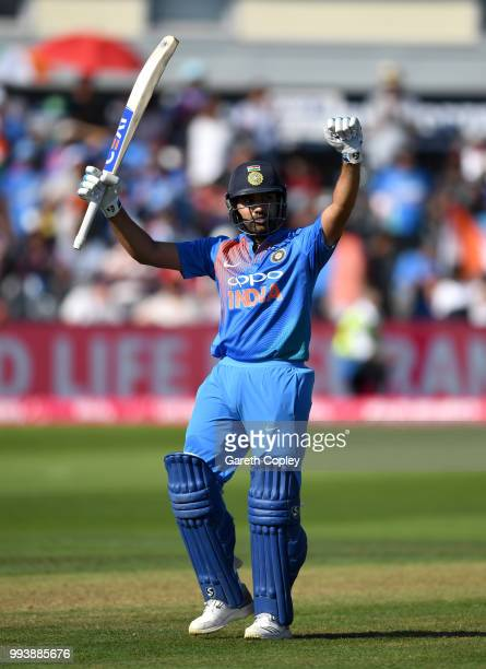 Rohit Sharma of India celebrates reaching his century during the 3rd Vitality International T20 match between England and India at The Brightside...