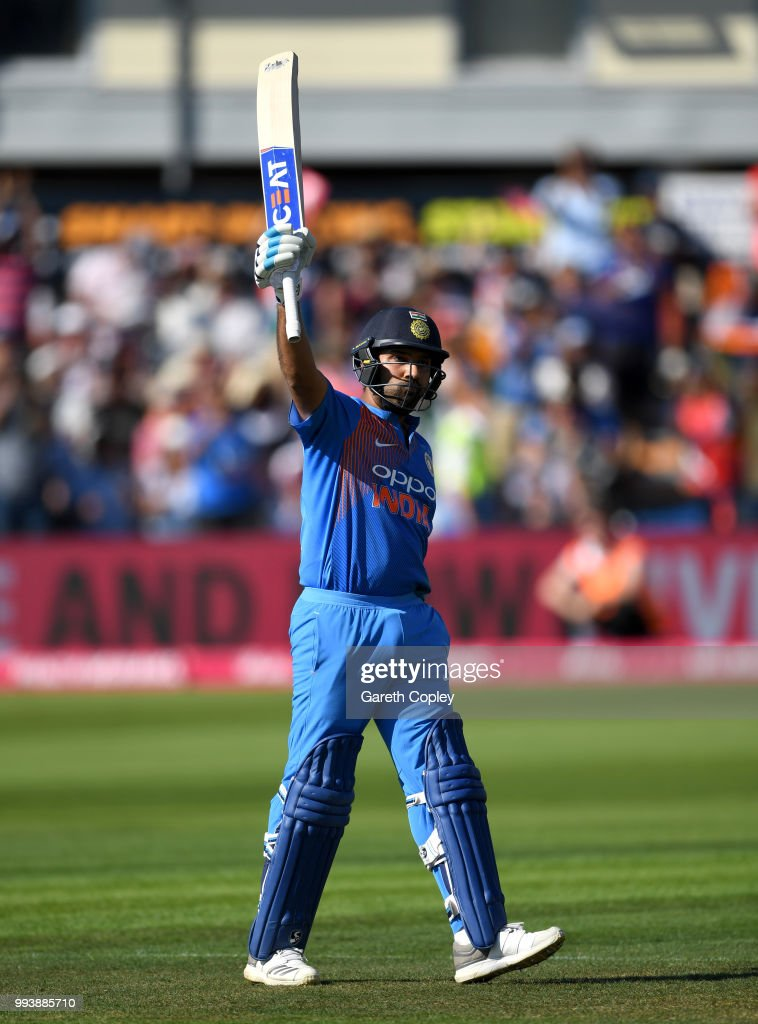 Rohit Sharma of India celebrates reaching his century during the 3rd Vitality International T20 match between England and India at The Brightside Ground on July 8, 2018 in Bristol, England.