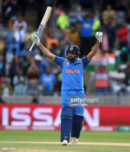 Rohit Sharma of India celebrates reaching his century during the ICC Champions Trophy Semi Final between Bangladesh and India at Edgbaston on June 15...