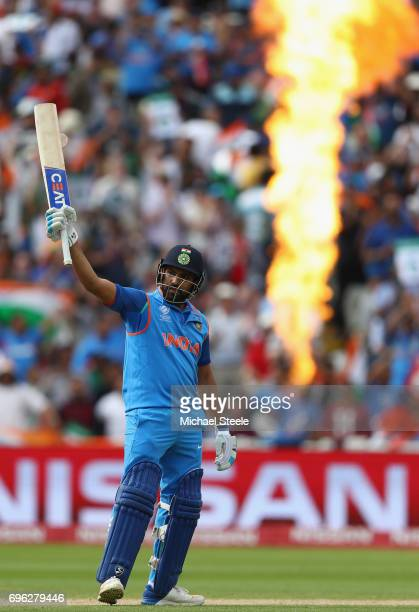Rohit Sharma of India celebrates reaching his century during the ICC Champions Trophy SemiFinal match between Bangladesh and India at Edgbaston on...