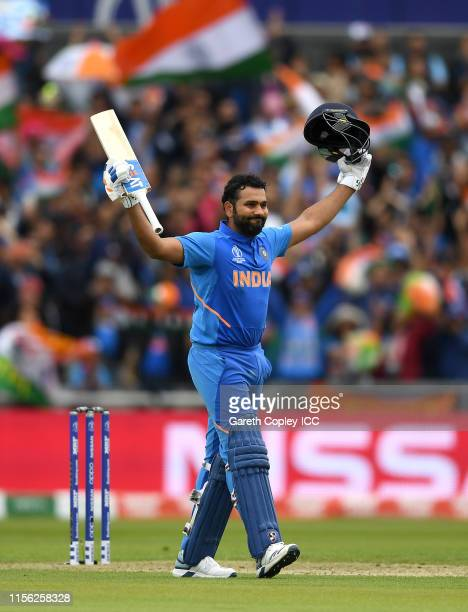 Rohit Sharma of India celebrates reaching his century during the Group Stage match of the ICC Cricket World Cup 2019 between Pakistan and India at...