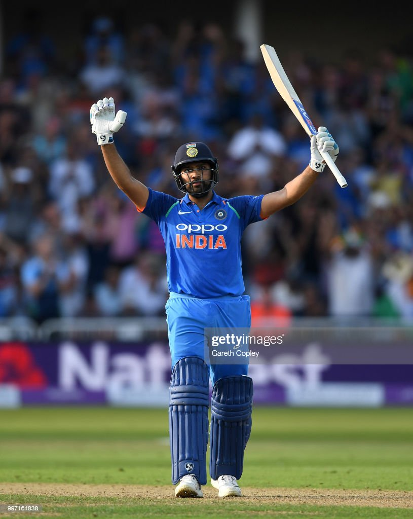 Rohit Sharma of India celebrates reaching his century during the Royal London One-Day match between England and India at Trent Bridge on July 12, 2018 in Nottingham, England.