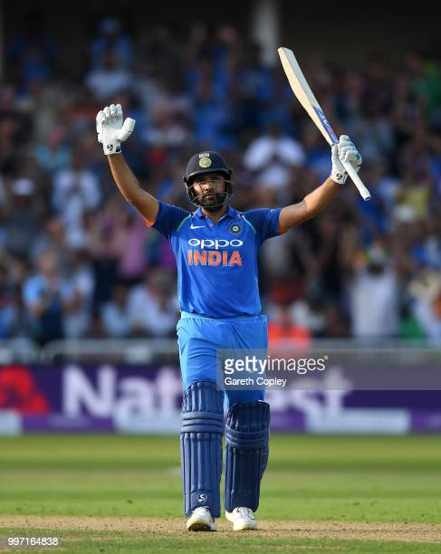 Rohit Sharma of India celebrates reaching his century during the Royal London One-Day match between England and India at Trent Bridge on July 12,...