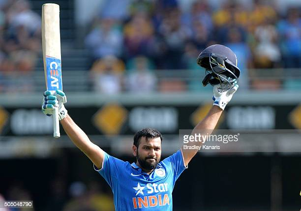 Rohit Sharma of India celebrates scoring a century during game two of the Victoria Bitter One Day International Series between Australia and India at...