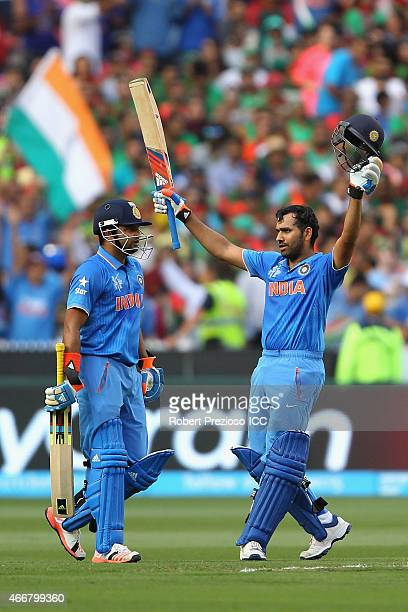 Rohit Sharma of India celebrates scoring his century during the 2015 ICC Cricket World Cup match between India and Bangladesh at Melbourne Cricket...