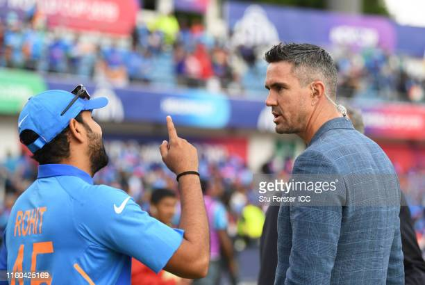 Rohit Sharma of India chats with Kevin Pietersen during the Group Stage match of the ICC Cricket World Cup 2019 between Sri Lanka and India at...