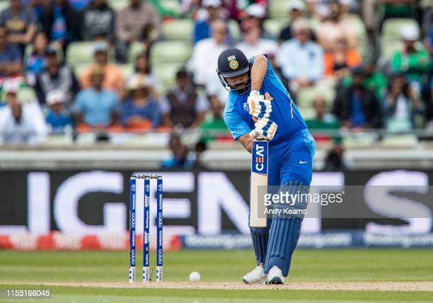 Rohit Sharma of India drives during the Group Stage match of the ICC Cricket World Cup 2019 between Bangladesh and India at Edgbaston on July 02 2019...