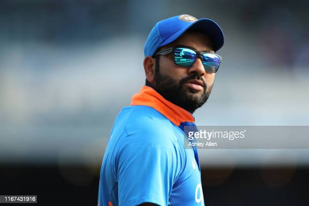 Rohit Sharma of India during the second MyTeam11 ODI between the West Indies and India at the Queen's Park Oval on August 11, 2019 in Port of Spain,...