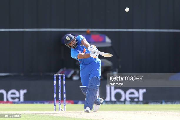 Rohit Sharma of India hits out during the ICC Cricket World Cup 2019 match between India and Sri Lanka at Emerald Headingley Leeds on Saturday 6th...