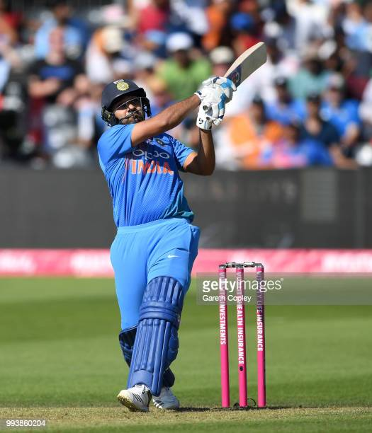 Rohit Sharma of India hits out for six runs during the 3rd Vitality International T20 match between England and India at The Brightside Ground on...