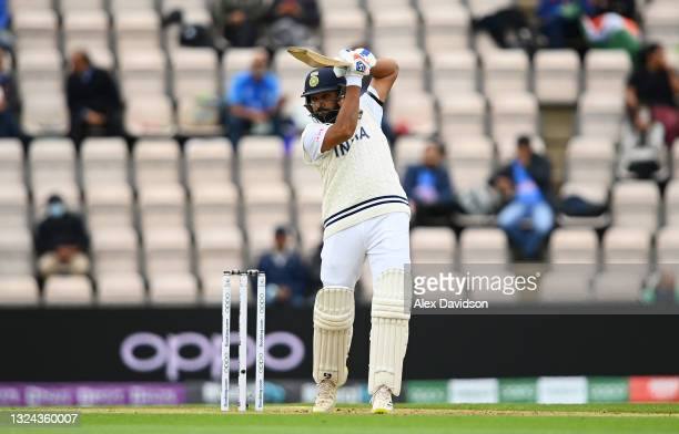 Rohit Sharma of India hits runs during Day 2 of the ICC World Test Championship Final between India and New Zealand at The Hampshire Bowl on June 19,...