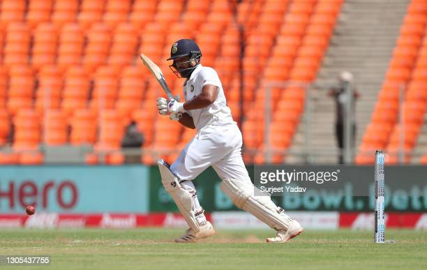 Rohit Sharma of India hits runs during Day Two of the 4th Test Match between India and England at Sardar Patel Stadium on March 05, 2021 in...