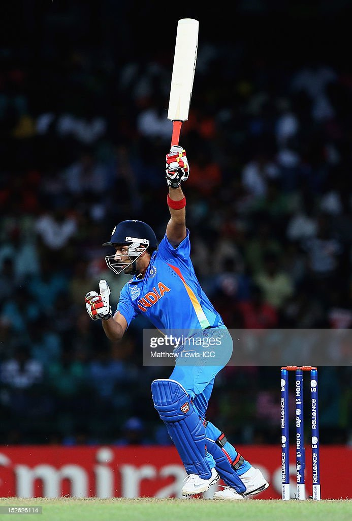 Rohit Sharma of India hits the ball towards the boundary during the ICC World Twenty20 2012 Group A match between England and India at R. Premadasa Stadium on September 23, 2012 in Colombo, Sri Lanka.