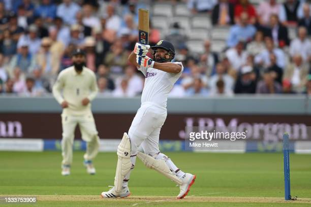 Rohit Sharma of India hooks a delivery from Mark Wood of England for six during the Second LV= Insurance Test Match: Day One between England and...