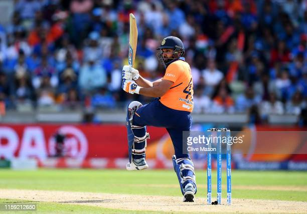 Rohit Sharma of India in action batting during the Group Stage match of the ICC Cricket World Cup 2019 between England and India at Edgbaston on June...