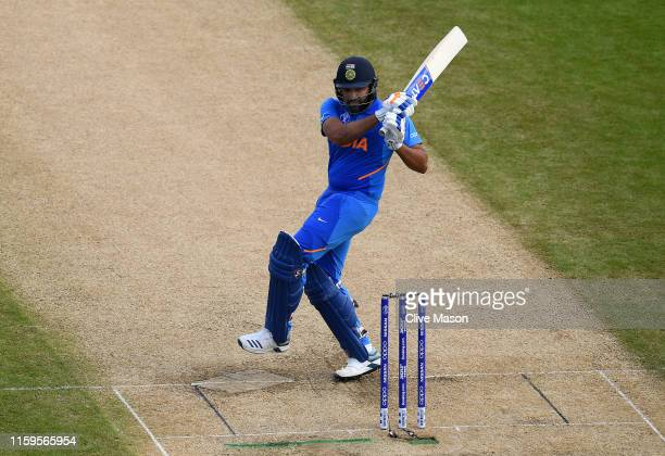 Rohit Sharma of India in action batting during the Group Stage match of the ICC Cricket World Cup 2019 between Bangladesh and India at Edgbaston on...