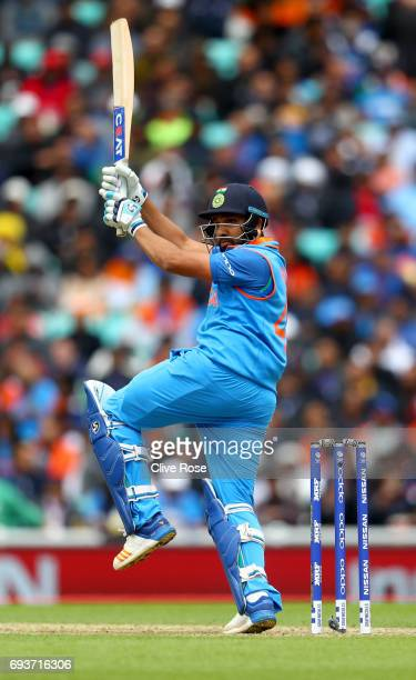 Rohit Sharma of India in action during the ICC Champions trophy cricket match between India and Sri Lanka at The Oval in London on June 8 2017