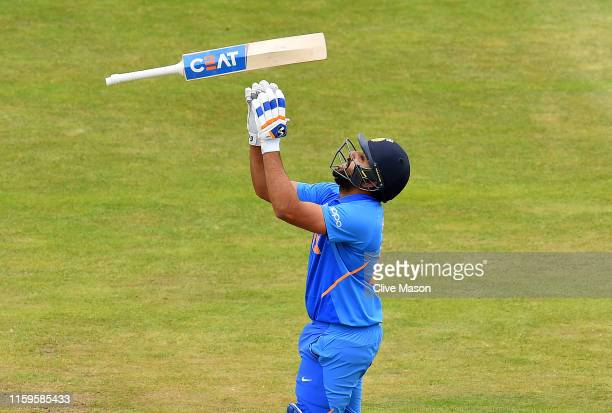 Rohit Sharma of India in celebrates his century during the Group Stage match of the ICC Cricket World Cup 2019 between Bangladesh and India at...