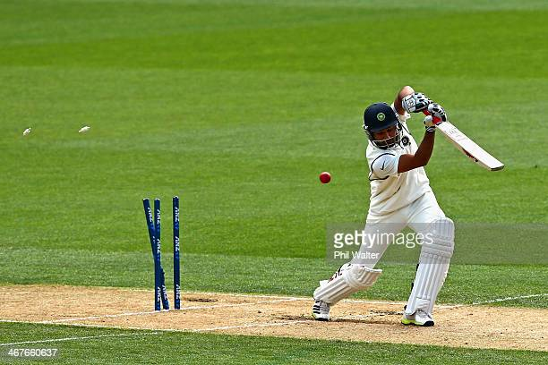Rohit Sharma of India is bowled by Trent Boult of New Zealand during day three of the First Test match between New Zealand and India at Eden Park on...