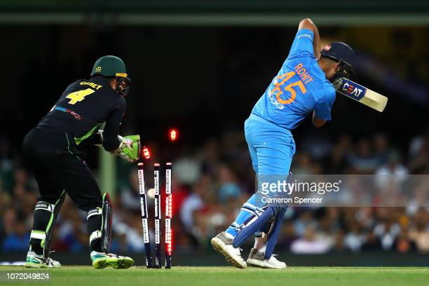 Rohit Sharma of India is dismissed by Adam Zampa of Australia during the International Twenty20 match between Australia and India at Sydney Cricket...