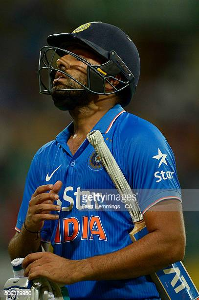Rohit Sharma of India leaves the field after being dismissed by John Hastings of Australia during game five of the Commonwealth Bank One Day Series...