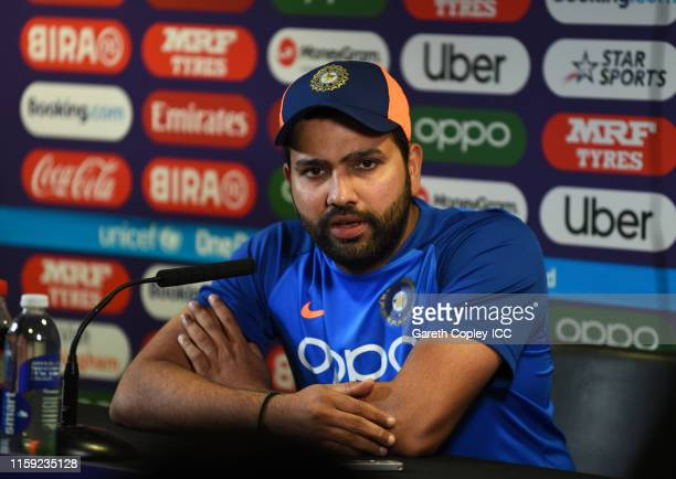 Rohit Sharma of India looks on during the post match press conference during the Group Stage match of the ICC Cricket World Cup 2019 between England...