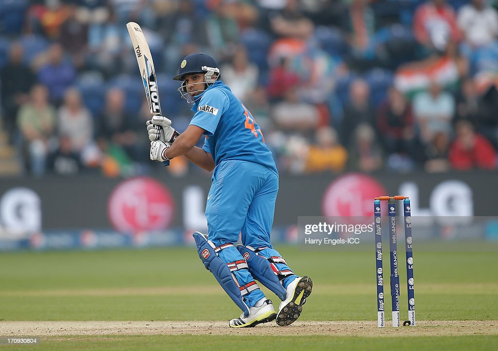 Rohit Sharma of India picks up some runs during the ICC Champions Trophy Semi Final match between India and Sri Lanka at SWALEC Stadium on June 20, 2013 in Cardiff, Wales.