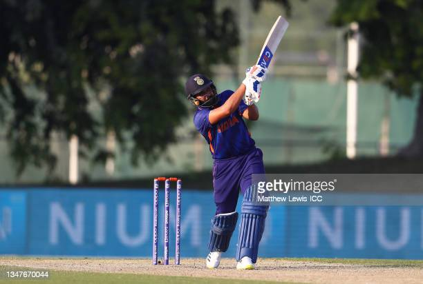 Rohit Sharma of India plays a shot during the India and Australia warm Up Match prior to the ICC Men's T20 World Cup at on October 20, 2021 in Dubai,...
