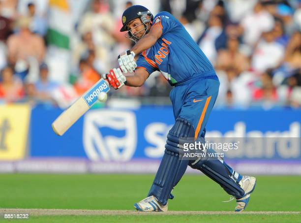 Rohit Sharma of India plays a shot during the super 8 stage of the ICC world Twenty 20 cricket match against South Africa at Trent Bridge Nottingham...