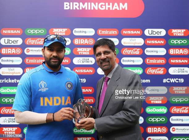 Rohit Sharma of India poses after being named Man of the match during the Group Stage match of the ICC Cricket World Cup 2019 between Bangladesh and...