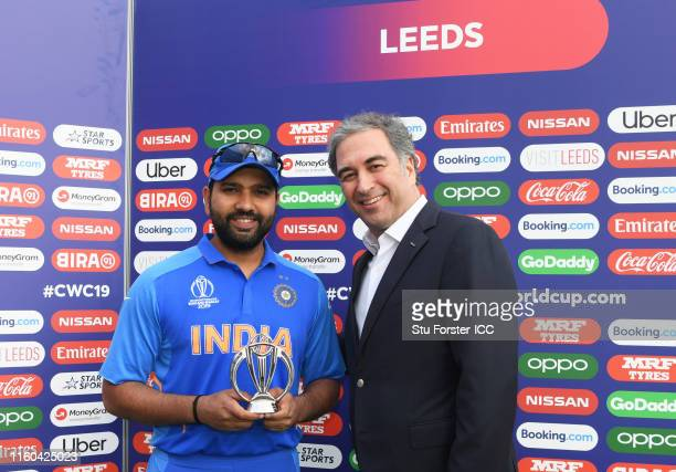 Rohit Sharma of India poses after being named Man of the match during the Group Stage match of the ICC Cricket World Cup 2019 between Sri Lanka and...