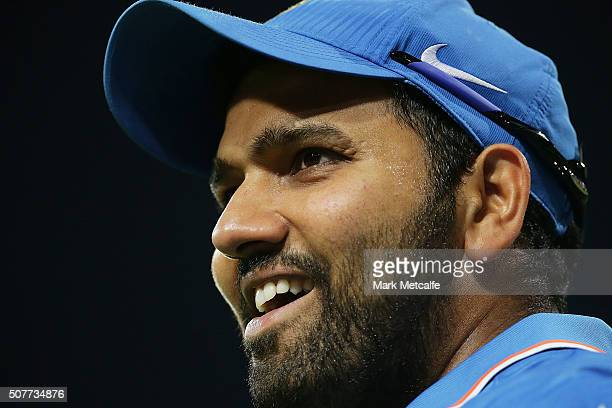 Rohit Sharma of India smiles during the International Twenty20 match between Australia and India at Sydney Cricket Ground on January 31 2016 in...