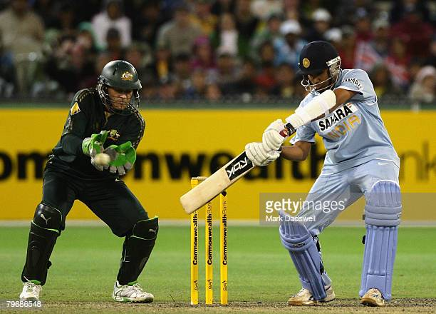 Rohit Sharma of India square cuts during the Commonwealth Bank Series match between Australia and India held at the Melbourne Cricket Ground February...