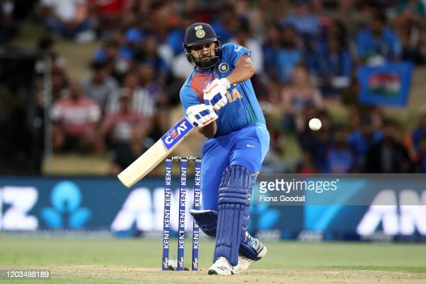 Rohit Sharma of India takes a shot during game five of the Twenty20 series between New Zealand and India at Bay Oval on February 02, 2020 in Mount...