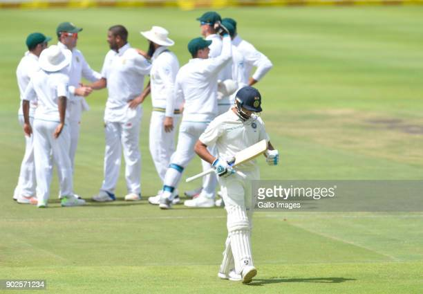 Rohit Sharma of India walks off during day 4 of the 1st Sunfoil Test match between South Africa and India at PPC Newlands on January 08 2018 in Cape...