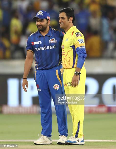 Rohit Sharma of the Mumbai Indians and MS Dhoni of the Chennai Super Kings are seen at the coin toss during the Indian Premier League Final match...