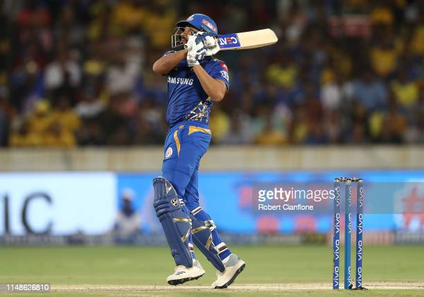 Rohit Sharma of the Mumbai Indians bats during the Indian Premier League Final match between the the Mumbai Indians and Chennai Super Kings at Rajiv...